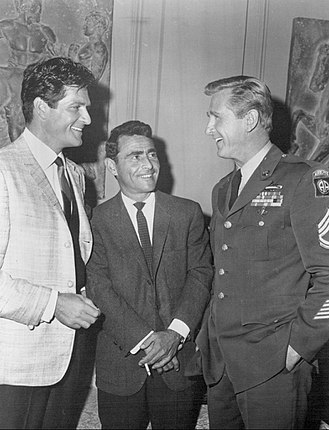 "Bob Hope Presents the Chrysler Theatre - Hugh O'Brian, Rod Serling, and Lloyd Bridges. The two actors appeared in ""Exit From a Plane in Flight"" (1965)."