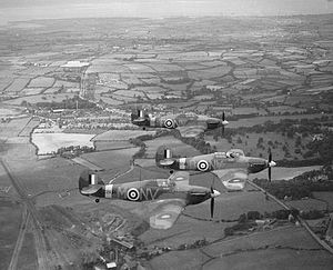 Roland Beamont - Three Hawker Hurricane Mark IIBs of No. 79 Squadron RAF. The pilots were, Sqn Ldr G D Haysom (NV-B), Flt Lt R P Beamont (nearest aircraft,'NV-M'), and Flt Lt L T Bryant-Fenn (NV-F).