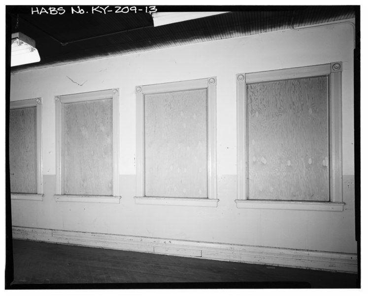 file interior view of decorative wooden window surrounds found at second floor tower area palm