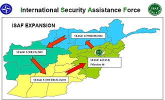 International Security Assistance Force - Geographic depiction of the four ISAF stages (January 2009).