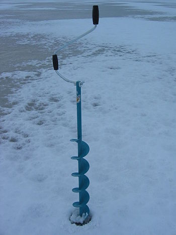 Ice drill used in winter fishing.