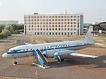 Iljuschin Il-18 der Deutschen Lufthansa der DDR in Originalfarbgebung am Flughafen Halle-Leipzig.jpg
