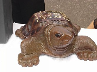 Illibuck Trophy - The winning team in the Illinois–Ohio State game receives this wooden turtle, named the Illibuck.