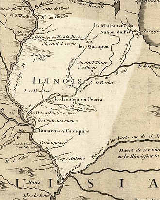 Illinois River - The Illinois River as mapped in 1718, modern Illinois state highlighted.