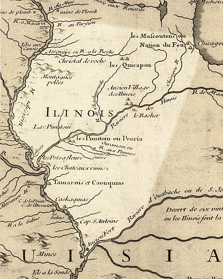Illinois in 1718, approximate modern state area highlighted, from Carte de la Louisiane et du cours du Mississipi by Guillaume de L'Isle[29]