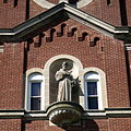 Immaculate Conception Convent Church (Oldenburg, Indiana) - exterior detail, statue of Saint Francis of Assisi.jpg