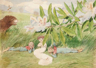 """Charles Altamont Doyle - Charles Altamont Doyle, """"In the shade"""". Painting with fairies"""