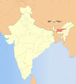 Location of Bodoland (marked in red) in India