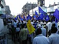 Indian Buddhists with blue Buddhist flag in Sangharsha Shanti Morcha (Buddhist's, SC's & SC's movement) for atrocity act in Jalna city, Maharashtra.jpg