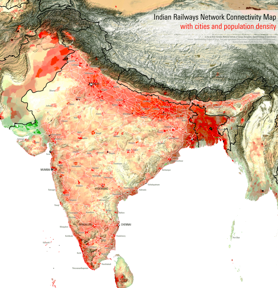 Indian Railways Network Connectivity Map with cities and population density