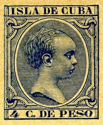 Indicia (philately) - An indicium from an 1894 Cuban postal card depicting Alfonso XIII at age 5
