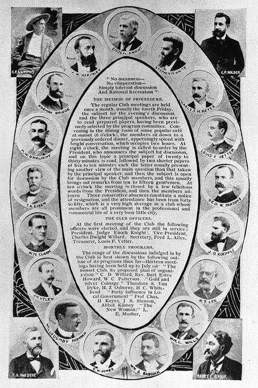Individual portraits of Sunset Club members set around the written procedures of the club, 1895 (CHS-11376)