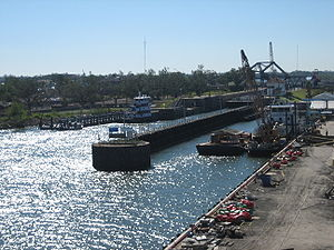 Industrial Canal - Canal locks as seen from the Claiborne Avenue Bridge looking towards the Mississippi River