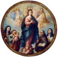 Inmaculada Concepción acompañada por los santos Gertrudis, José con el Niño, Juan de Dios y Teresa de Jesús, bajo la protección de la Santísima Trinidad Escudo de monja.tif