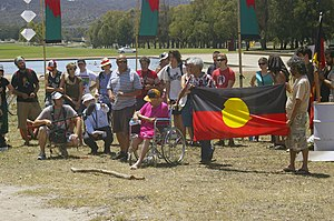 English: Invasion Day protest at the Aboriginal Tent Embassy