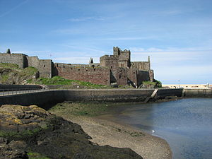 Peel Castle - Peel Castle as seen from the swing bridge at the entrance to Peel harbour