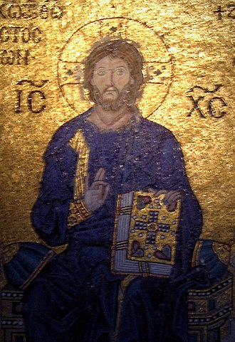 Names and titles of Jesus in the New Testament - Mosaic of Christ Pantocrator with the Christogram IC XC.
