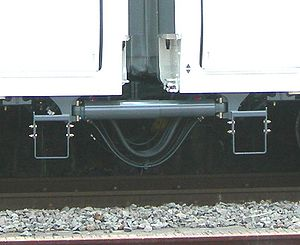 Yaw damper (railroad) - Yaw damper between cars of an E259 series EMU operated by JR East in Japan, June 2009