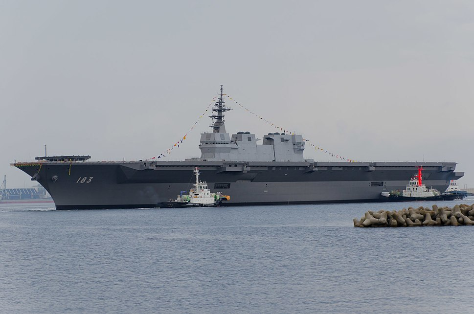 JS Izumo (DDH-183) just after her launch