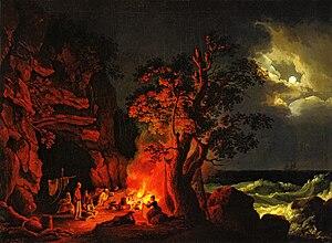 Museum Georg Schäfer - Image: Jacob Philipp Hackert, Fischerfamilie am nächtlichen Lagerfeuer mit aufgewühltem Meer, 1778