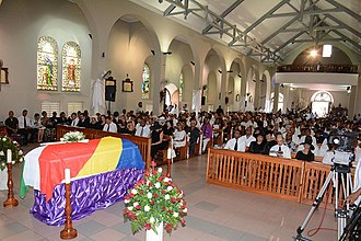 Immaculate Conception Cathedral, Seychelles - The memorial service for James Mancham, the first President of Seychelles, in Immaculate Conception Cathedral on 12 January 2017