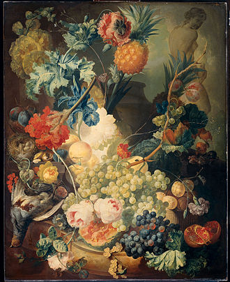Jan van Os - Still Life with Flowers, Fruits, and Poultry, 1774