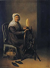 Old Woman at Spinning Wheel