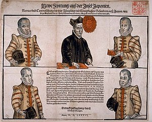 Tenshō embassy - The first Japanese Embassy to Europe, in 1586.  Top, from left to right: Julião Nakaura, Father Mesquita, Mancio Itō.  Bottom, from left to right: Martinho Hara, Miguel Chijiwa.