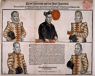 Alessandro Valignano - The four Japanese sent by Alessandro Valignano to Europe, with Father Mesquita, in 1586.