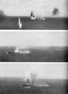 Japanese carrier Shokaku under attack at Coral Sea 1942.jpg