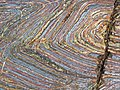 Jaspilite banded iron formation (Soudan Iron-Formation, Neoarchean, ~2.69 Ga; Stuntz Bay Road outcrop, Soudan Underground State Park, Soudan, Minnesota, USA) 19 (19224896605).jpg