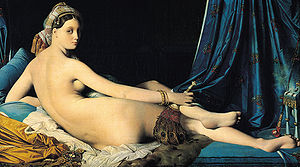 The Turkish Bath - Grande Odalisque, 1814, Louvre. The subject's elongated proportions, reminiscent of 16th-century Mannerist painters, reflect Ingres's search for a pure form
