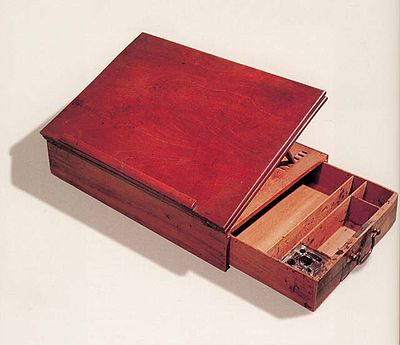 Portable writing desk that Jefferson used to draft and write the Declaration of Independence Jefferson's+deskdetail.jpg