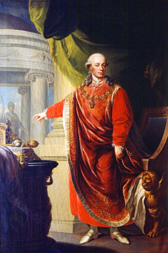 Leopold II, Holy Roman Emperor - Leopold in the regalia of the Order of the Golden Fleece, by Johann Daniel Donat, 1806
