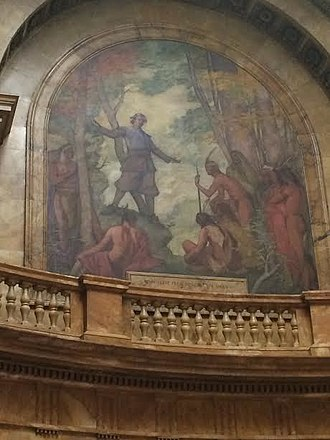 Praying Indian - Puritan minister John Eliot leads Natick Indians in Christian prayer, as depicted on the mural of the rotunda on the Massachusetts State House in Boston.