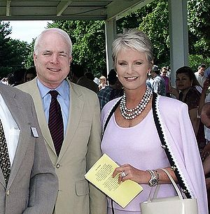 Cindy McCain - John and Cindy McCain at a Naval Sea Cadet Corps graduation, Fort Dix, New Jersey, July 2001.