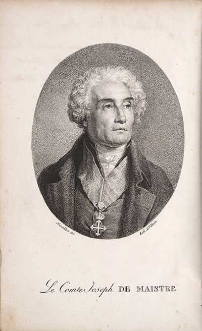 Lithograph of Maistre, from a painting by Pierre Bouillon. He is shown wearing the insignia of the Order of Saints Maurice and Lazarus. - Joseph de Maistre