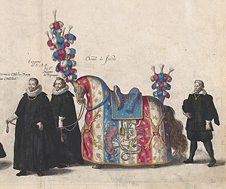 Riderless horse - Riderless jousting horse of Albert VII, Archduke of Austria in his funeral procession, 1623 (etching with hand coloring by Jacob Franquart)