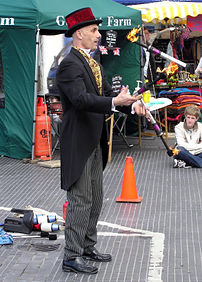 A juggler entertains outdoors in Devizes, Wilt...