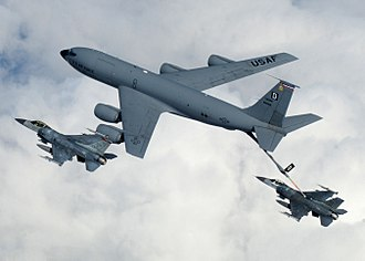 Boom operator (US military) - A KC-135 refuels a flight of F-16 Fighting Falcons over the Baltics.