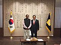 Kang Chang-Hee meeting the Union Minister for Urban Development, Housing and Urban Poverty Alleviation and Parliamentary Affairs, Shri M. Venkaiah Naidu, in South Korea on November 05, 2014.jpg