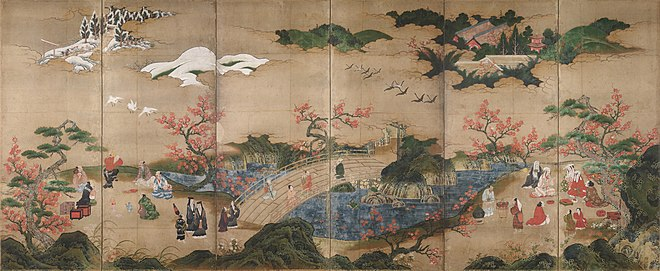 A painted screen of six panels depicting a park-like setting in which visitors enjoy the scenery