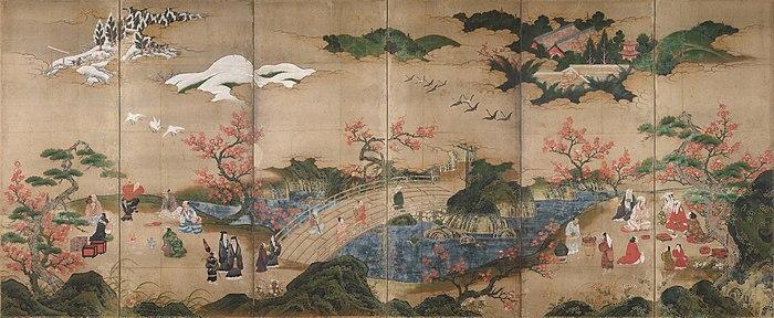 """Ukiyo-e fra 1500-tallet. """"Maple Viewing at Takao"""" af Kanō Hideyori. Et af de tidligste japanske malerier hvor almindelige menneskers liv skildres. Her betragtes ahorntræerne"""
