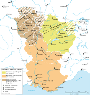 Kingdom of Burgundy - The Kingdoms of Upper and Lower Burgundy between 879 and 933.