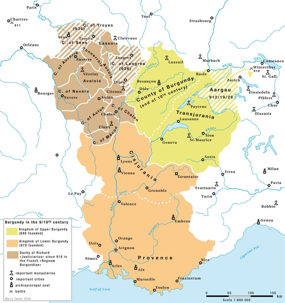 Karte Hoch und Niederburgund EN