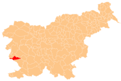 Location of the Municipality of Komen in Slovenia