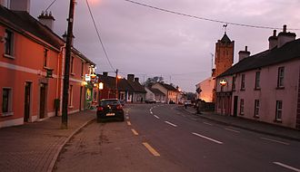 Keenagh - Main Street (R397) with clock tower