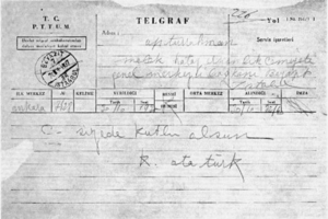 Hatay State - The telegram of congratulation sent by Mustafa Kemal Atatürk after the proclamation of Hatay State.
