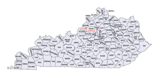 Kentucky counties map