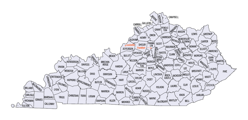 Map of Kentucky's counties